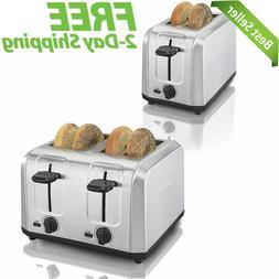 2 Slice / 4 Slice Toaster Extra-Wide Slots Crumb Tray Brushe