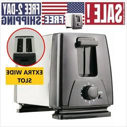 2 Slice Extra Wide Slot Toaster for Bagel Thick Bread Stainl