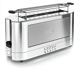 Russell Hobbs 2-Slice Glass Accent Long Toaster, Silver and