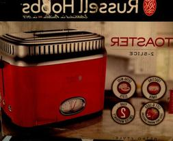 Russell Hobbs 2 Slice Retro Style Toaster, Red And Stainless