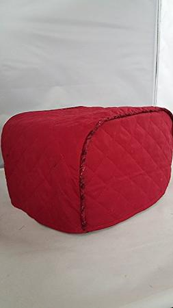 2 Slice Toaster Cover  / Quilted Double Faced Cotton, Red
