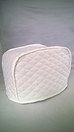 4 Slice Toaster Cover  / Quilted Double Faced Cotton, White