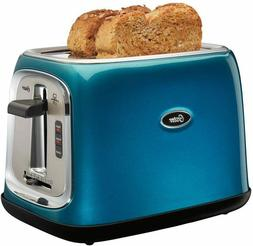2 slice toaster metallic turquoise blue