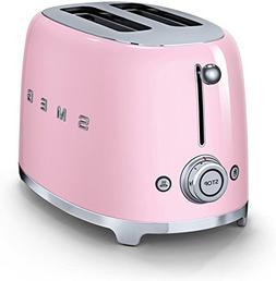 Smeg 2-Slice Toaster-Pink, Small Compact Retro Design, 6 Set