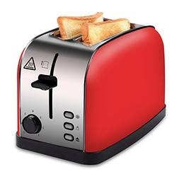 COSSCCI Toaster 2 Slice Red, Stainless Steel Toaster with Wi