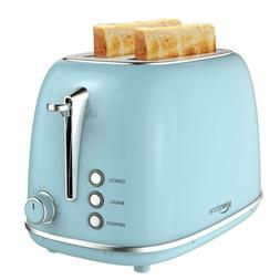2 Slice Toaster Retro Stainless Steel Toaster With Bagel, Ca