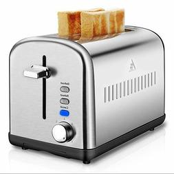 2 Slice Toaster, Stainless Steel Toasters Cool Touch with Ex