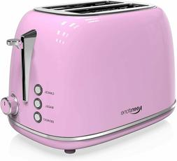 2-Slice Toasters Stainless Steel Retro Toaster with Extra Wi