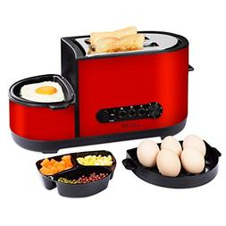 LATITOP 2-Slice Wide Slot Toaster with Egg Cooker, Fry Egg,