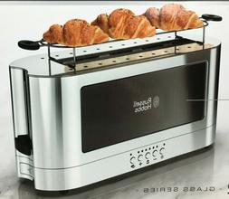 Russell Hobbs 2-Slice Glass Accent Long Toaster, Black & Sta