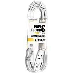 25 Ft Extension Cords White With 3 Electrical Power Outlet -