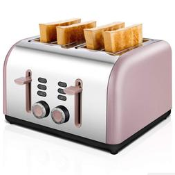 Toaster 4 Slice, CUSIBOX Four Wide Slots Toaster Stainless S