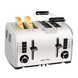 4 Slice Compact Toaster Stainless Steel Extra Wide Slot Brea