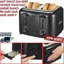 4 Slice Electric Toaster Bread Four Wide Slots Bagel Kitchen