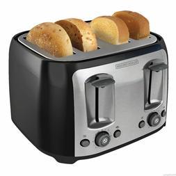 NEW Black & Decker 4 Slice Extra Wide Slot Toaster Black Bre
