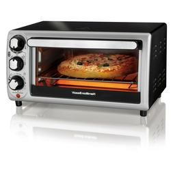 4 Slice Stainless Steel and Black Toaster Oven 1100 W Hamilt