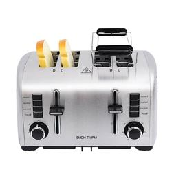 4 Slice Stainless Steel Compact Bread Toaster Extra Wide Slo
