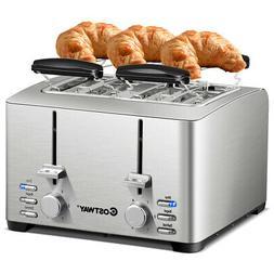 Stainless Steel 4 Slice Toaster Extra-Wide Slot 6 Shade Sett