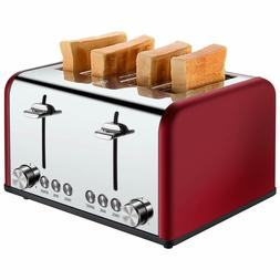 4 Slice Toaster BAGEL/DEFROST/CANCEL Function, 1650W, Red