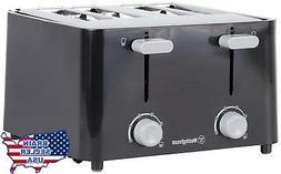 4 Slice Toaster Black Kitchen Toaster Extra-Wide Toasting sl