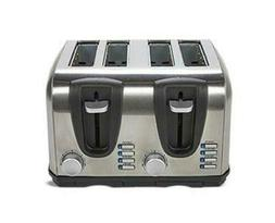 Ambiano 4 Slice Toaster Brushed Stainless Steel Wide Slot Co