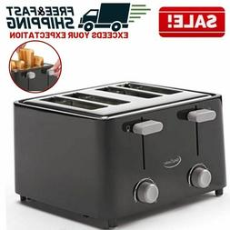 4 Slice Toaster Electric Bread Bagel Wide Slot Crumb Tray Co
