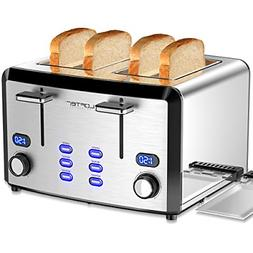 4 Slice Toaster, LOFTER Mirror Stainless Steel Toaster Best