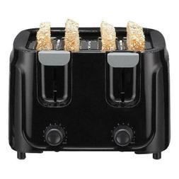 4 Slice Toaster Oven Black 6 Toast Settings Auto-Centers Bre