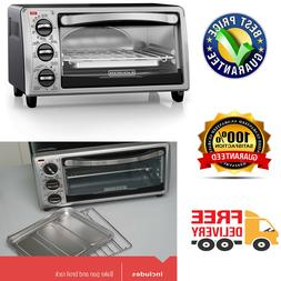 4 Slice Toaster Oven Stainless Steel Compact 4 Functions Rem