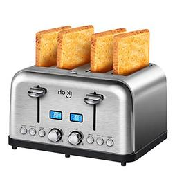 4 Slice Toaster, IKICH Best Rated Prime Toaster Stainless St