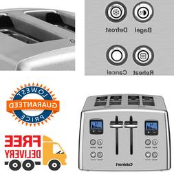 4 Slice Toaster Stainless Steel 7 Settings Wide Slots Remova