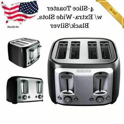 4-Slice Toaster W/ Crumb Tray Bread Bagel Toasters Extra-Wid