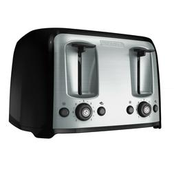 4-Slice Toaster with Extra-Wide Slots, Black/Silver,  BLACK+
