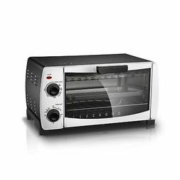 """Mainstays 4-Slice White Toaster Oven Fits 9"""" Pizza Bake Broi"""