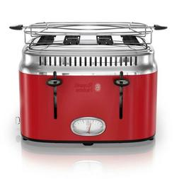 Russell Hobbs 4-Slice Retro Style Toaster, Red & Stainless S