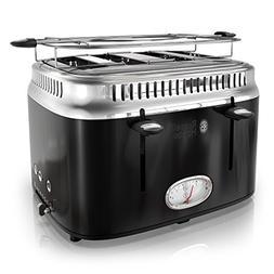 Russell Hobbs 4-Slice Retro Style Toaster, Black & Stainless