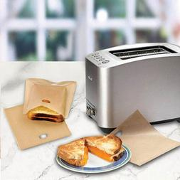 5x Toaster Bags Grilled Cheese Sandwiches Reusable Non-stick