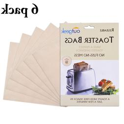 6 Pack Toaster Bag Reusable Sandwich Pocket Pouch Grilled Ch