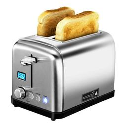 Bagel Toaster 2 Slice Stainless Steel With Timer Extra Wide