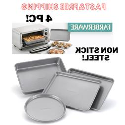 Bakeware Steel Nonstick Toaster Oven Pan Set 4-Piece Baking