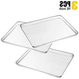 3 Piece Large Baking Sheet, Metal Stainless Steel Baking Pan