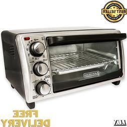 Black & Decker 4-Slice Toaster Oven in Grey Baking Broiler S