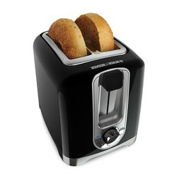 Black & Decker 2-Slice Toaster, Square, Black, with Bagel Fu