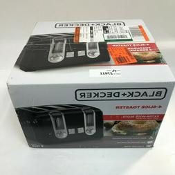 Black + Decker 4-Slice Extra-Wide Slot Black Toaster w/ Brow