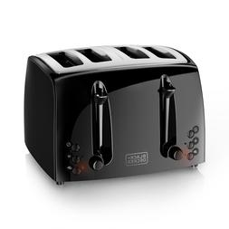 BLACK+DECKER 4-Slice Toaster, Extra-Wide, Black, TR1410BD
