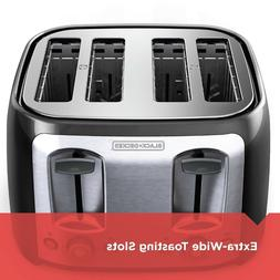 BLACK+DECKER 4-Slice Toaster with Extra-Wide Slots, Black/Si