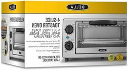 Brand New BELLA 4 Slice Countertop Toaster Oven, 1000 Watt Q