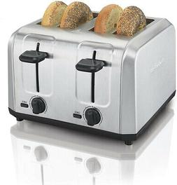 Brushed Stainless Steel Toaster 4 Slice Extra Wide Slots Cru