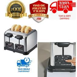 Chrome 4 Slice Toaster Extra Wide Slots Bagel Auto Shutoff C