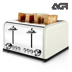 Compact Bread Bagel Toaster 4 Slice, Wide Slots Stainless St